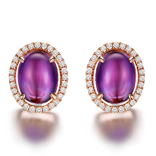 Kardy Amazing Fashion Purple Amethyst Gemstone Solid 14K Rose Gold for Women Natural Diamond Anniversary Wedding Earrings for Women by Kardy