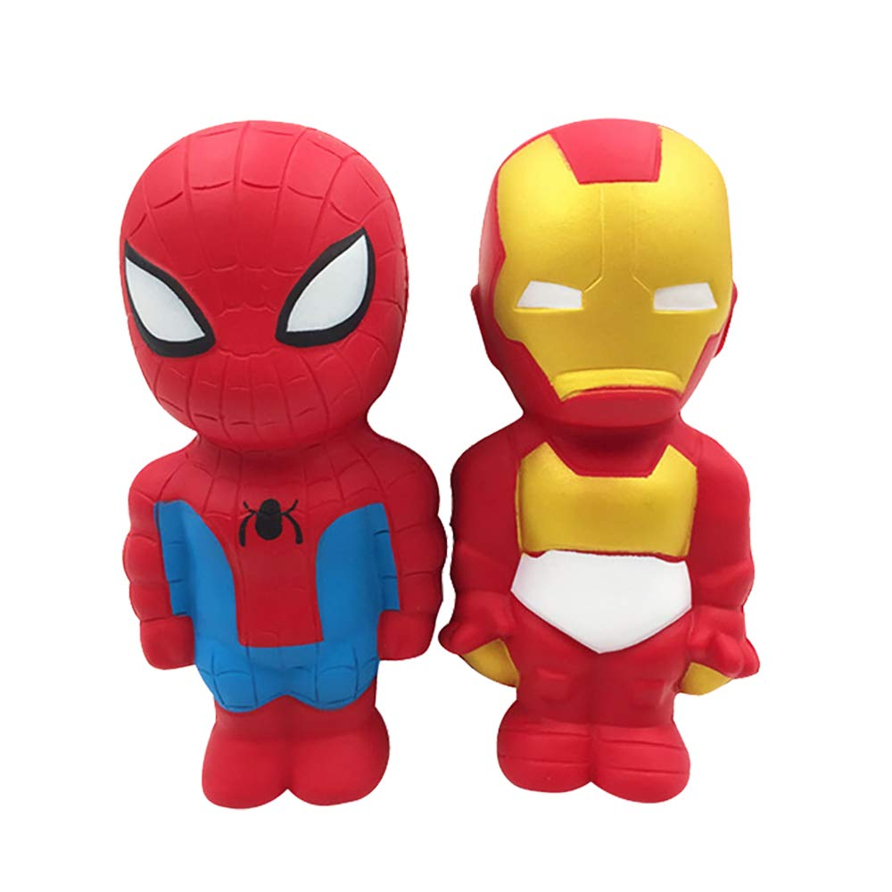 2pcs Super Hero Far from Home Squishy Toy Party Favors for Kids Avengers Squishy Toy Kids Party Favors Kawaii Iron Man Squishies Stress Reliever Anxiety Toys Squishy Spiderman Squishys (M, Red)