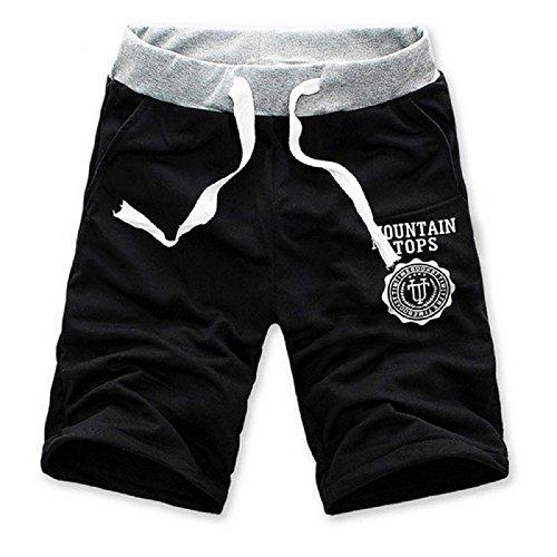 Drawstring Sports Shorts, Luweki Korea Men Pants Gym Jogging Trousers Casual (L, Black)