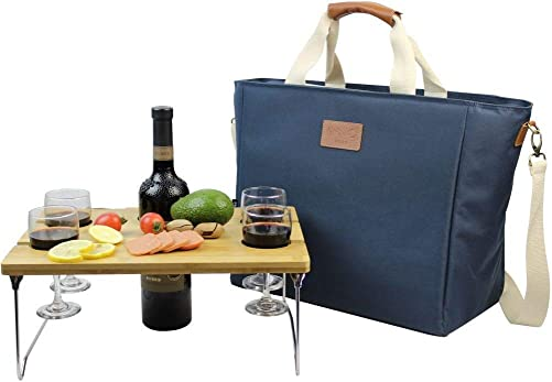 INNO STAGE 40L Cooler Bag, Large Insulated Tote Wine Carrier Bag for Picnic Lunch with Portable Bamboo Wine Snack Table – Best Gift for Father Mother Day