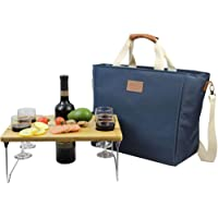INNO STAGE 40L Cooler Bag, Large Insulated Tote Wine Carrier Bag for Picnic Lunch with Portable Bamboo Wine Snack Table - Best Gift for Father Mother Day