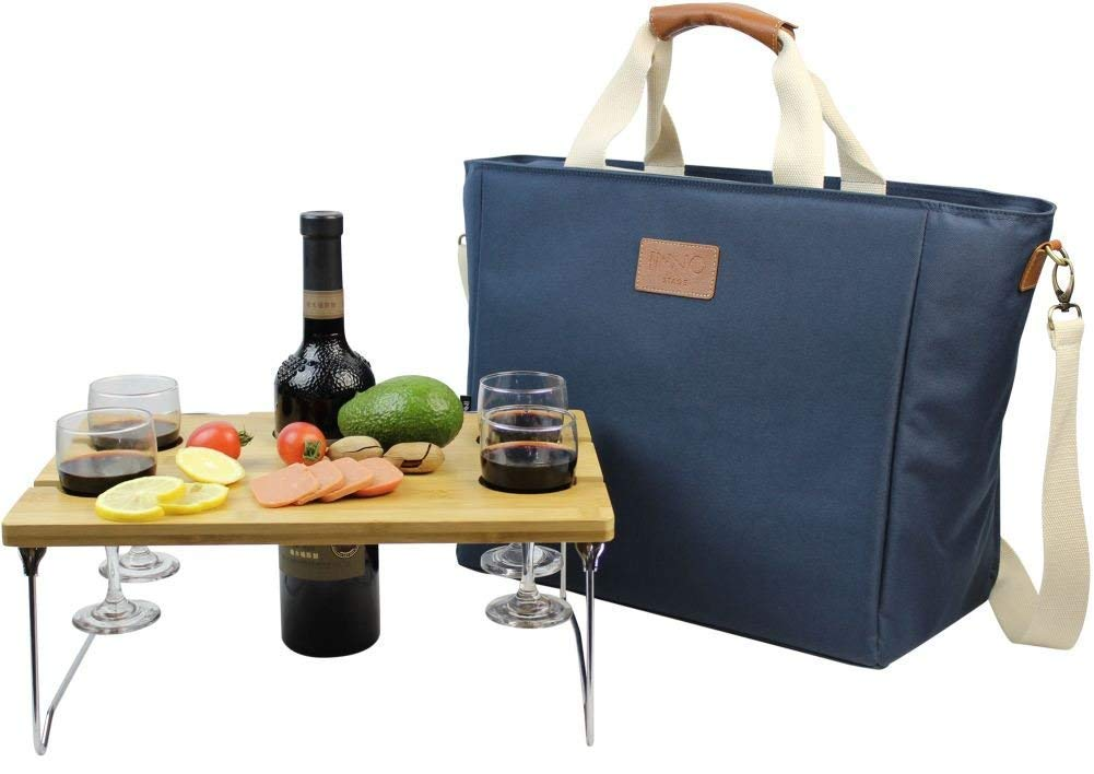 INNO STAGE 40L Cooler Bag, Large Insulated Tote Wine Carrier Bag for Picnic Lunch with Portable Bamboo Wine Snack Table - Best Gift for Father Mother Day by INNO STAGE
