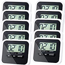 10 Pack Kitchen Timer Magnetic Digital timer Back and Retractable Stand Minute Second Count Up Countdown