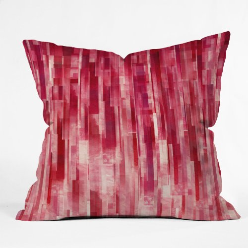 DENY Designs Jacqueline Maldonado Red Rain Throw Pillow, 18 x 18