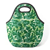 Good4Life - Neoprene Lunch Tote Insulated Reusable Picnic Lunch Bag [ Green Camouflage Pattern ]