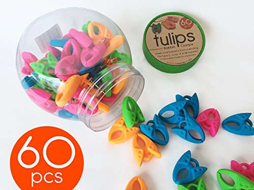 Tulips Bobbin Clamps (60 Pieces Jar). Keep Thread Tails Under Control with these Ergonomic Bobbin Clamps/Holders. Fits Bobbins Type L, Class A, Class M, Bernina 7,8 Series. By Smartneedle. - Sm Clip Organizer