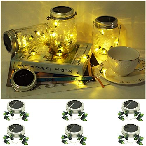 Upgraded Solar Mason Jar Lights 6 Pack 8 Modes Firefly Mason Jar Lights Outdoor Waterproof Rustproof for Balcony Patio Yard Garden Decoration Including 6 Hangers Excluding Jars Warm White