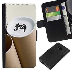 All Phone Most Case / Oferta Especial Cáscara Funda de cuero Monedero Cubierta de proteccion Caso / Wallet Case for HTC One M7 // Art Soya Brown Paper Structure