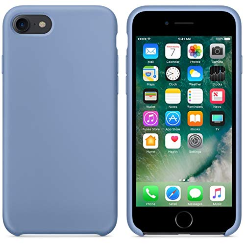 BigMike Compatible for iPhone 7 Case, iPhone 8 Case, Soft Liquid Silicone Shock-Absorption Case with Soft Microfiber Cloth Lining Cushion for iPhone 7/8-4.7inch (Azure)