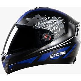 Steelbird SBA-1 Storm Glossy Black with Blue with Smoke Visor,600mm