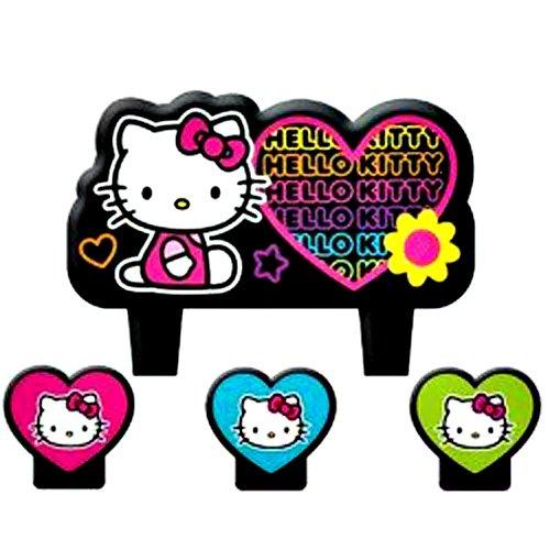 amscan Hello Kitty 'Neon Tween' Mini Molded Cake Candles (4ct) ()