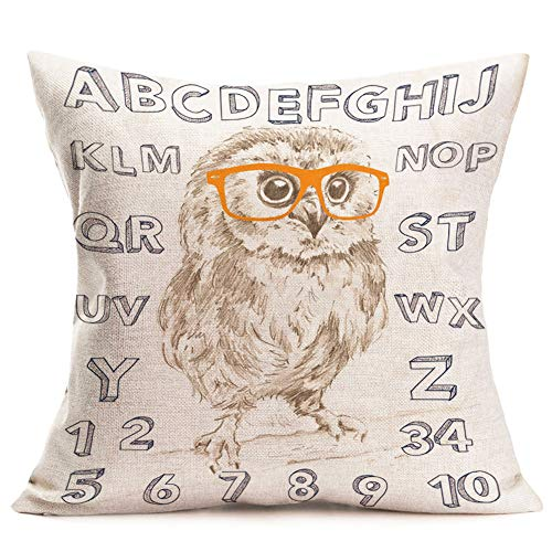 - Royalours Throw Pillow Covers Cotton Linen Vintage Abstract Art Cute Owl with 26-Letter Decorative Pillow Case Cushion Cover Pillowslip 18
