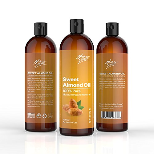 SWEET ALMOND OIL - 100% Pure and Natural Cold pressed massage Sweet Almond Oil For your face, scalp and hair (1 BIG BOTTLE 16 FL.OZ) (Big Sweet)