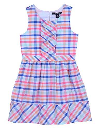 Nautica Girls' Patterned Sleeveless Dress plaid medium pink - Sleeveless Dress Plaid