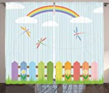 Ambesonne Country Decor Collection, Colorful Dragonflies Drifting over Fences on a Sunny Rainbow Day Kids Nursery Striped Theme, Living Room Bedroom Curtain 2 Panels Set, 108 X 84 Inches, Multi