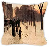 Rikki Knight Childe Hassam Art Boston in Everyday Twilight Microfiber Throw Décor Pillow Cushion 18'' Square Double Sided Print (Insert Included)