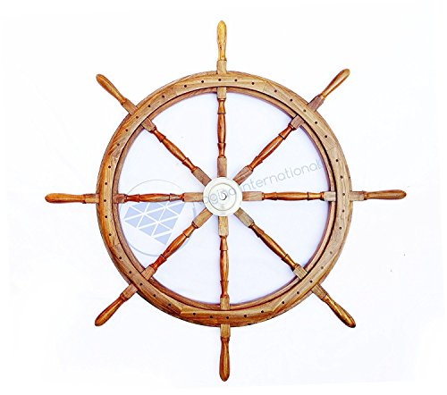 Premium Deluxe Hand Crafted Wooden Nautical Ship Wheel | Solid Teak Wood Nautural Finish | Nagina International (48 Inches) by Nagina International