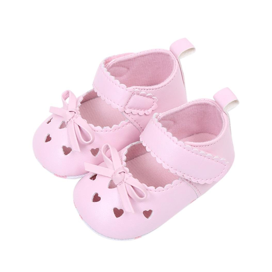 Voberry Newborn Infant Baby Girls Crib Shoes Toddler Soft Sole Bowknot Sneakers