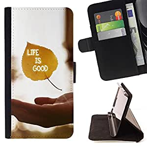 DEVIL CASE - FOR Apple Iphone 5 / 5S - Life Is Good - Style PU Leather Case Wallet Flip Stand Flap Closure Cover