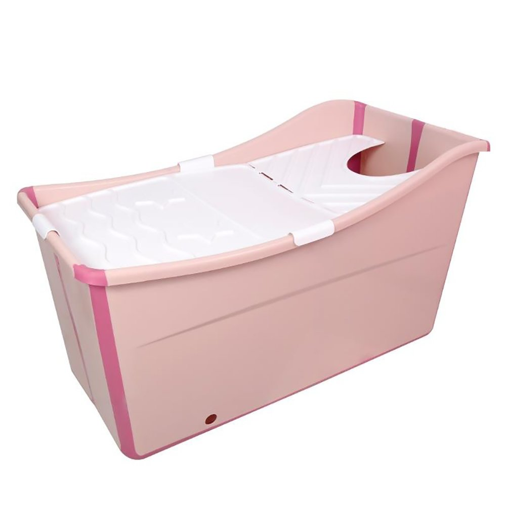 TOYM US Plastic Folding Bucket Adult Children'S Bathtub Thicken Baby Bath Barrel With Insulation Cover (Color : Lotus color)
