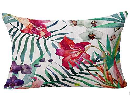 Hand-painted Tropical Red Barbadoslily Flowers Leaves Foliage Plant Holiday Gift Cotton Linen Home Office Decorative Throw Waist Lumbar Pillow Case Cushion Cover Rectangle 12 X 20 Inches -