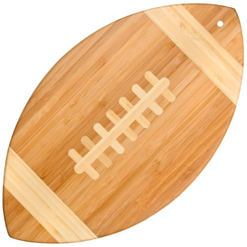 Totally Bamboo Football Shaped Bamboo Serving Board,  14