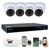 GW 8 Channel 5 Megapixel Video Day Night Security Surveillance System, 4 Weatherproof HD 5MP (2.5X 1080P) Dome Cameras, Motion Detection/Smart Search/Email Alert