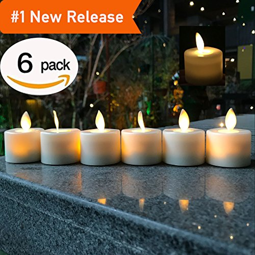 LED Tea Light Candles,Battery Operated Warm White Flameless Window Pillar Candle Bluk With Dancing Flickering Bulb For Christmas/Wedding/Birthday Party-Pack Of 6
