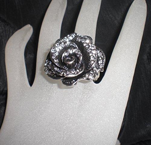 (Antiqued Silver Pewter Clear Rhinestone Flower Stretch Ring)