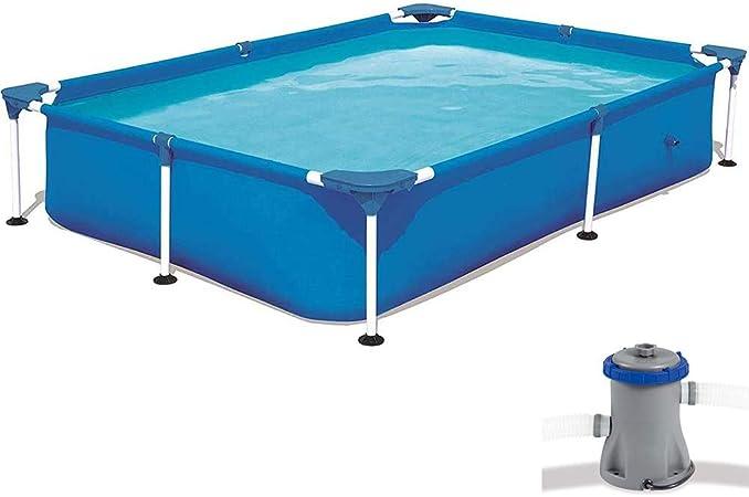 QQLK Frame Pool Piscina Desmontable Tubular 221 X 150 X 43 Cm, Piscina Sobresuelo(1200L), Malla Compuesta De 3 Capas, Montaje RáPido, Piscina para NiñOs Y Adultos - Azul,300×201×66cm: Amazon.es: Hogar