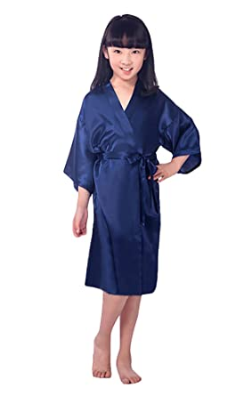 Kimono Dressing Gown for Girls Kids Silk Satin Robe Children Bathrobe  Sleepwear Costume Japanese Dress Yukata Bride Bridesmaid Nightdress Wedding Party  Spa ... 8d5efd997