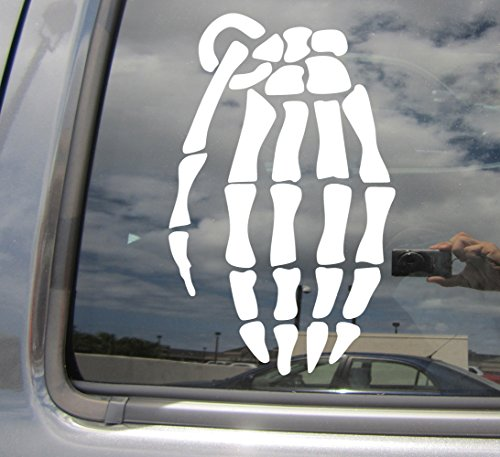 Skeleton Hand Grenade - Soldier Army Air Force Marines Navy Reserves Military - Cars Trucks Moped Helmet Hard Hat Auto Laptop Vinyl Decal Window Wall Sticker 09013 (Skeleton Reserve)