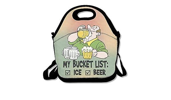 Bucket List 1 Beer 2 Ice Lunch Bag Lunch Tote: Amazon.es: Hogar