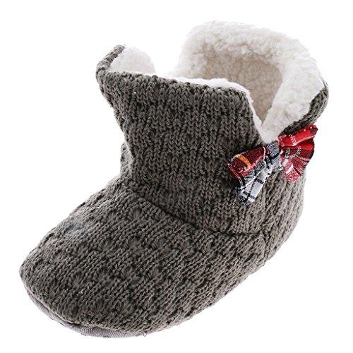 Zapatos De Cuna Para Recién Nacido Bebé Niño De Punto Botines Botas De Nieve Caliente Bowknot Primeros Pasos - Gris, 13cm Gris