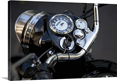 mium Thick-Wrap Canvas Wall Art Print entitled Motorcycle dashboard with keys in the ignition 24