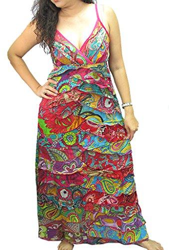 Patchwork Volants Femmes Fines Bretelles Robe Longue Multicolore