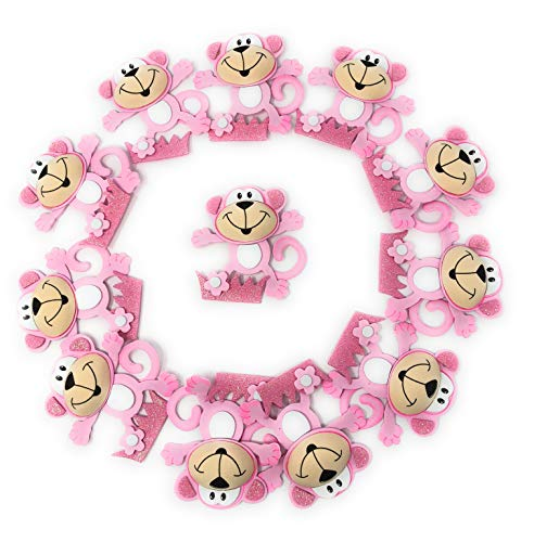 Baby Shower Decorations for Girl, Pink Monkey Baby Shower, Center Table Decor, Party Favors, Banner, Birthday Girls Party -