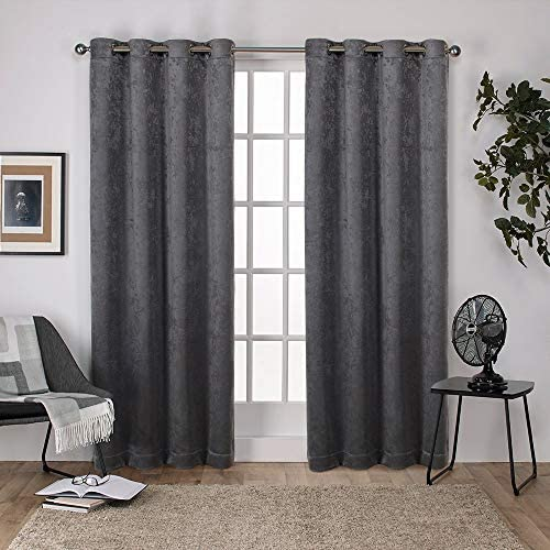 Exclusive Home Curtains Antique Shantung Twill Woven Brushed Window Curtain Panel Pair