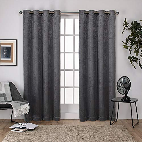 (Exclusive Home Curtains Antique Shantung Twill Woven Brushed Window Curtain Panel Pair with Grommet Top, 52x96, Black Pearl, 2 Piece)