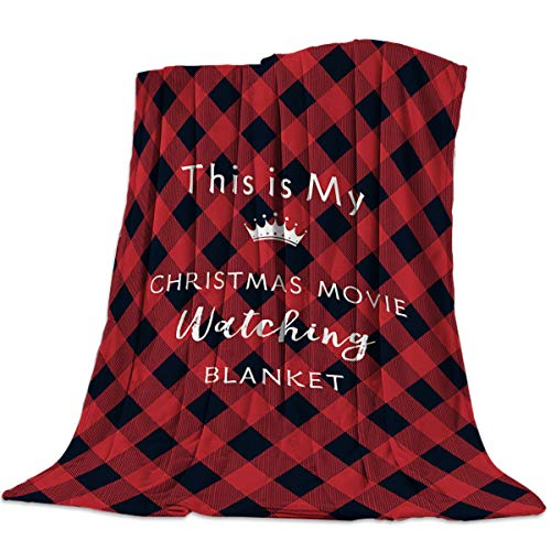 Throw Blanket for Bed or Couch, Soft Lightweight Microfiber Fuzzy Cozy Decorative Fleece Flannel Blanket,This is My Christmas Movie Watching Blanket Red and Black Buffalo Check(40 x 50 Inches)
