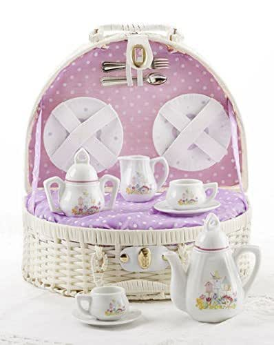 Delton Products Porcelain Bird House Tea Set for Two in a Basket, Purple