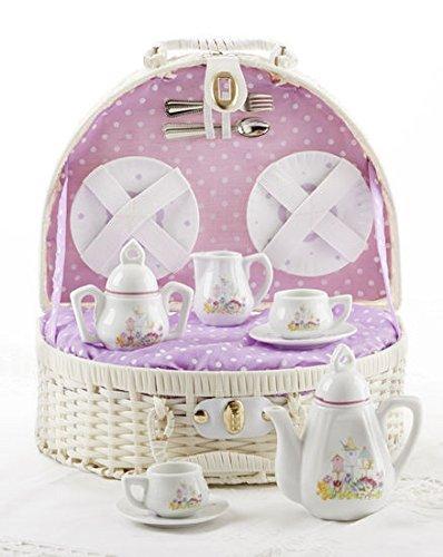 Porcelain Tea Set Basket (Delton Products Porcelain Bird House Tea Set for Two in a Basket, Purple)