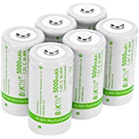 6-Pack BAKTH Upgraded 5000mAh C Size NiMH Pre-Charged Rechargeable Batteries