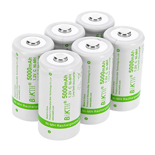 BAKTH Upgraded 5000mAh C Size High Performance NiMH Pre-Charged Low Self-Discharge Rechargeable Batteries for Household Devices (6 Pack)