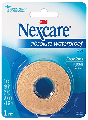 (Nexcare Absolute Waterproof First Aid Tape, Tough, Made by 3M, 1-Inch x 5-Yard Roll)