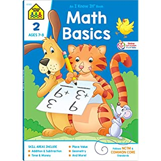 School Zone - Math Basics 2 Workbook - 64 Pages, Ages 7 to 8, Addition & Subtraction, Time & Money, Place Value, Sums and Differences, Fact Families, ... Workbook Series) (Deluxe Edition 64-Page)