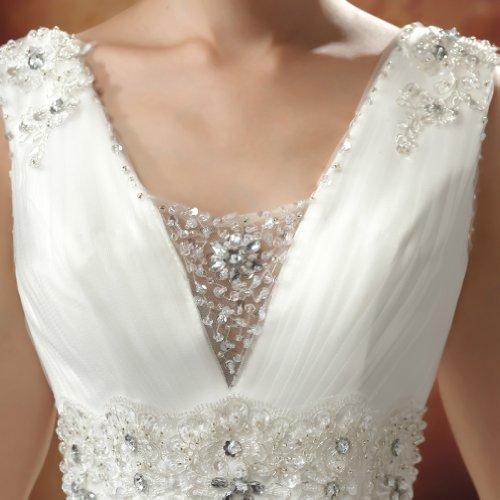 Kristall Tuell Applikation Kleidungen Dearta Mit A Pailletten Brautkleider Drapiert Bodenlang Prinzessin V Linie Ausschnitt Damen Elfenbein 7TRxqT4H