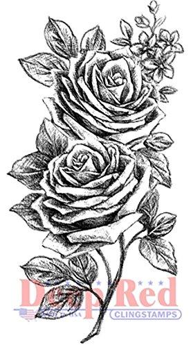 Deep Red Rubber Cling Stamp Rose Sketch Border Trim Garland