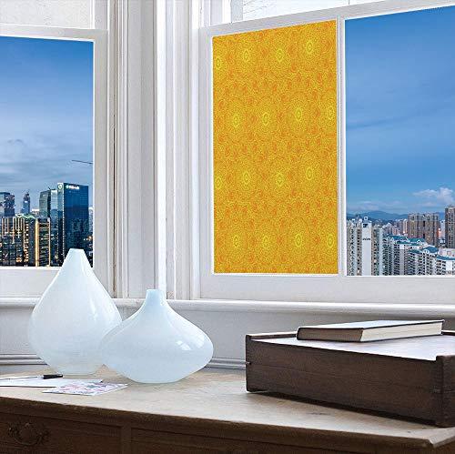 YOLIYANA Ethylene Film Printing Design Window Film,Yellow Mandala,Suitable for Kitchen, Bedroom, Living Room,Vibrant Colored Abstract Lotus Flowers Native Artwork Warm,24''x48''
