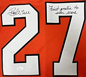 Ron Hextall Signed Orange Custom Jersey First Goalie To Score A Goal JSA